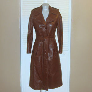 Vintage Long Brown Leather Hooded Spy Trench Coat
